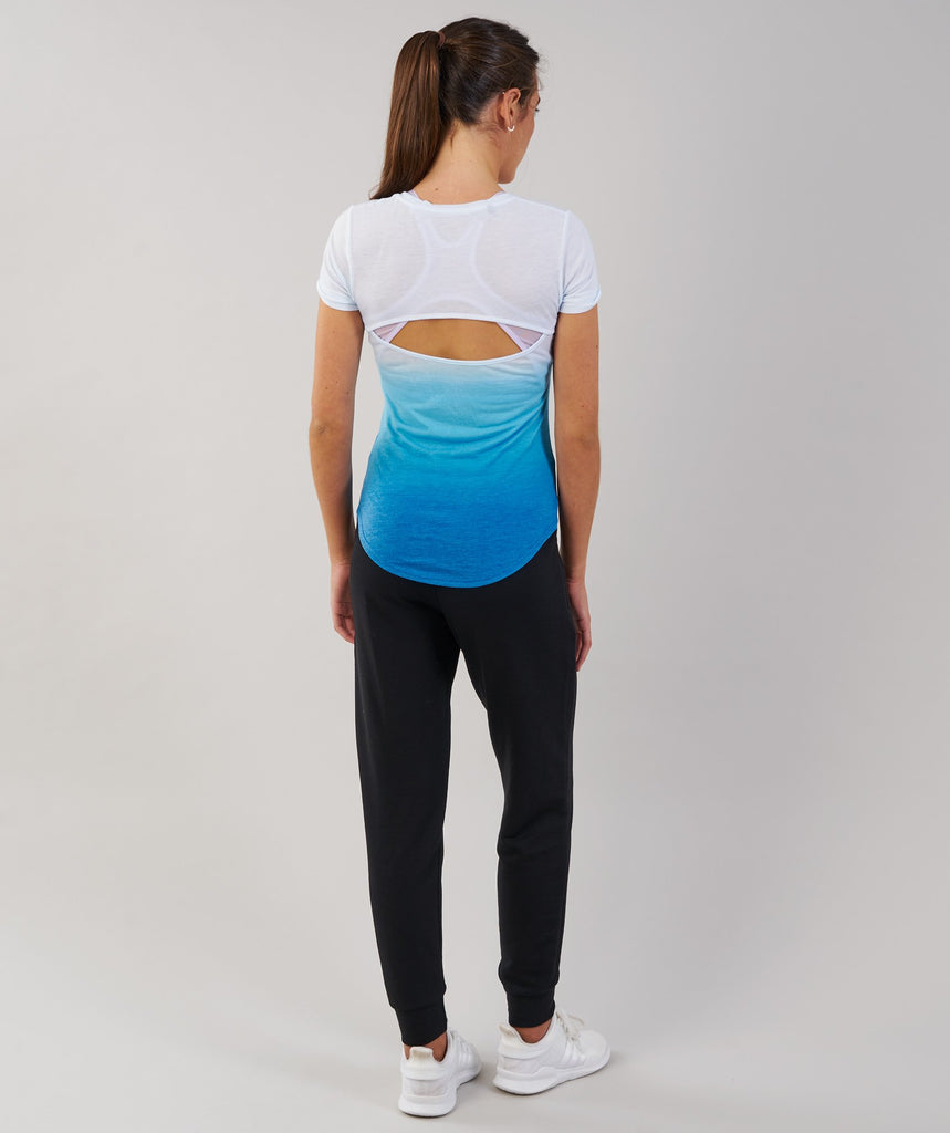 Gymshark Ombre T-Shirt - White/Blueberry 2