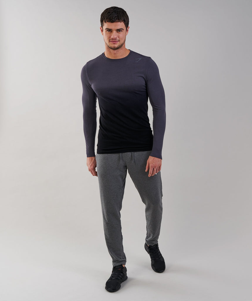 Gymshark Ombre Long Sleeve T-Shirt - Charcoal/Black 1