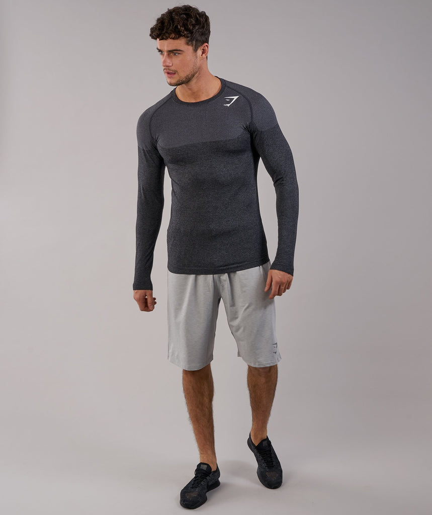 Gymshark Phantom Seamless Long Sleeve T-Shirt - Black Marl 1