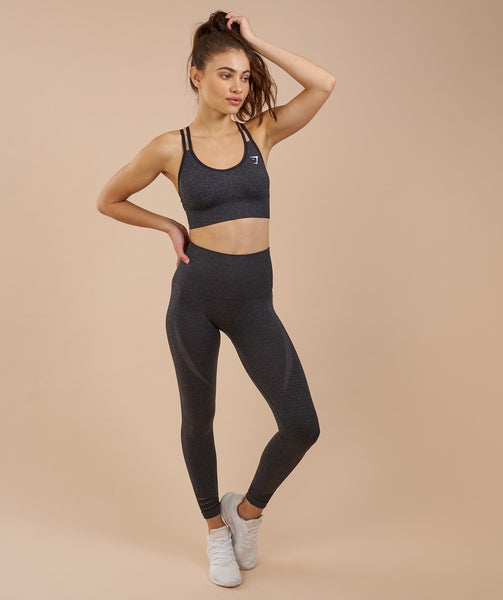 Gymshark High Waisted Seamless Leggings - Black Marl 2