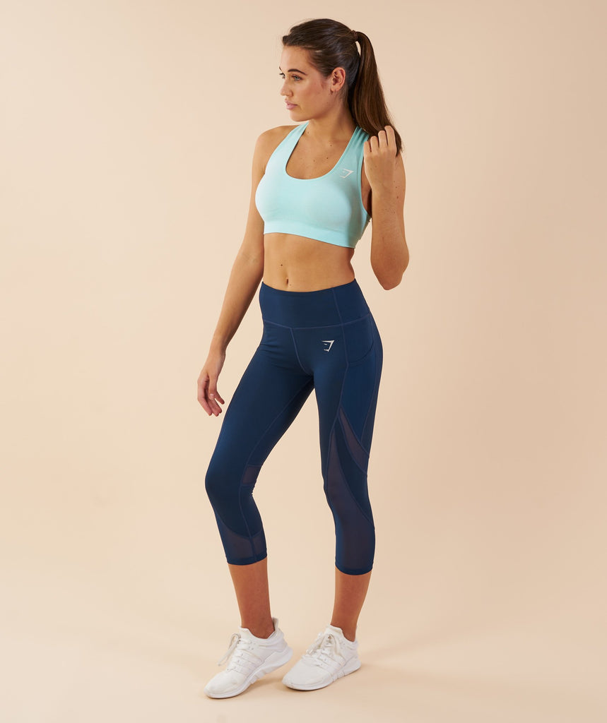 Gymshark Sleek Sculpture Cropped Leggings - Sapphire Blue 2