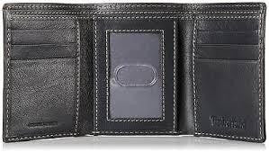 Timberland Men's Leather Wallet Double Billfold Trifold - Black -  24 Piece Prepack