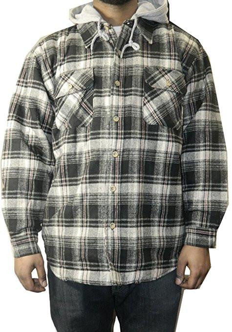 Moose Creek Men's Plaid Button Down Shirt Jacket with Hood - 16 Piece Prepack