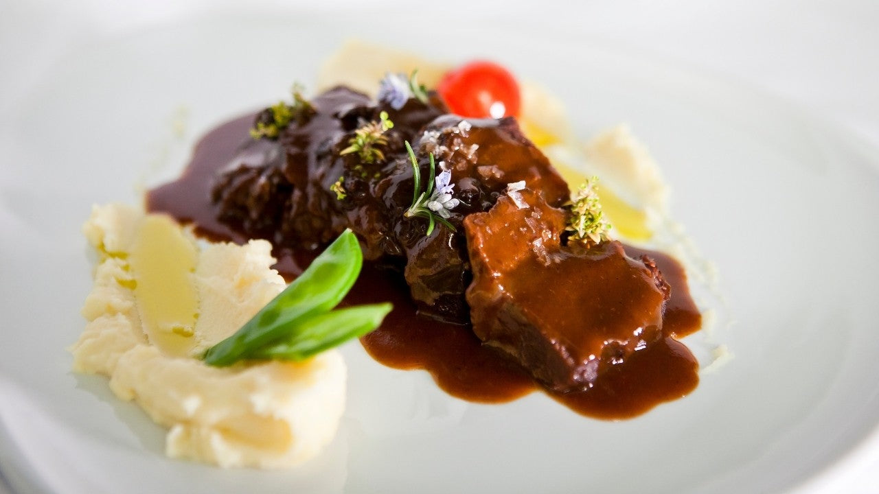 Beef cheek in red wine and