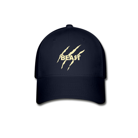 Beast Baseball Cap - Yellow Lettering - navy