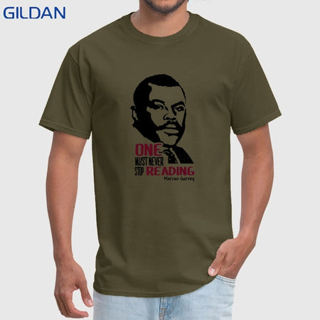 Marcus Garvey T-shirt - One Must Never Stop Reading