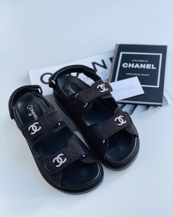 Chanel Fabric Crystal CC 'Dad' Sandals