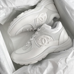 Chanel CC Logo Runner Sneaker Satin White