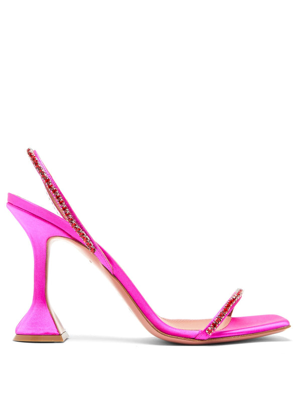 Amina Muaddi Jade Gem Embellished Satin Sandals