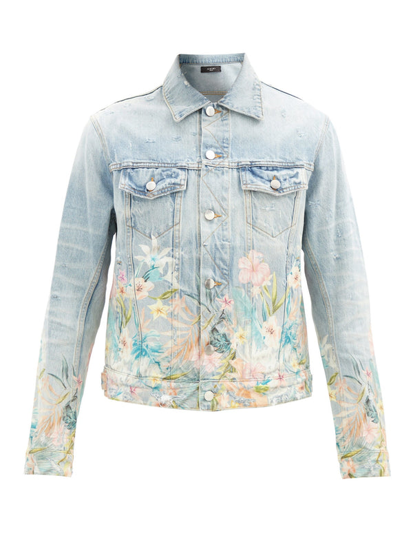 Amiri Floral Leaf Denim Jacket