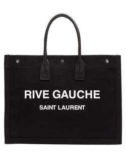 Saint Laurent Logo Print Canvas Tote - Black