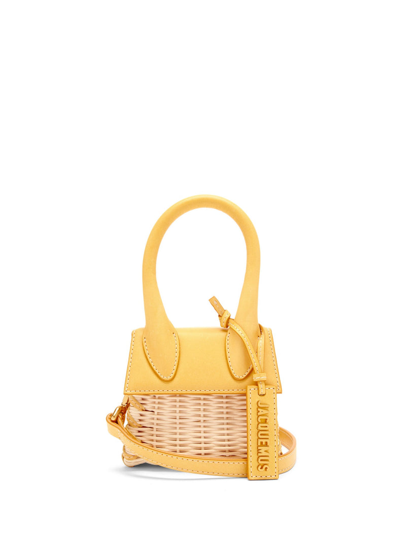 Jacquemus Le Chiquito Leather & Wicker Bag - Yellow
