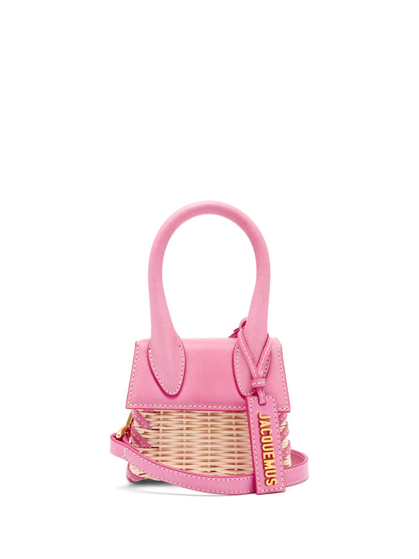 Jacquemus Le Chiquito Leather & Wicker Bag - Pink