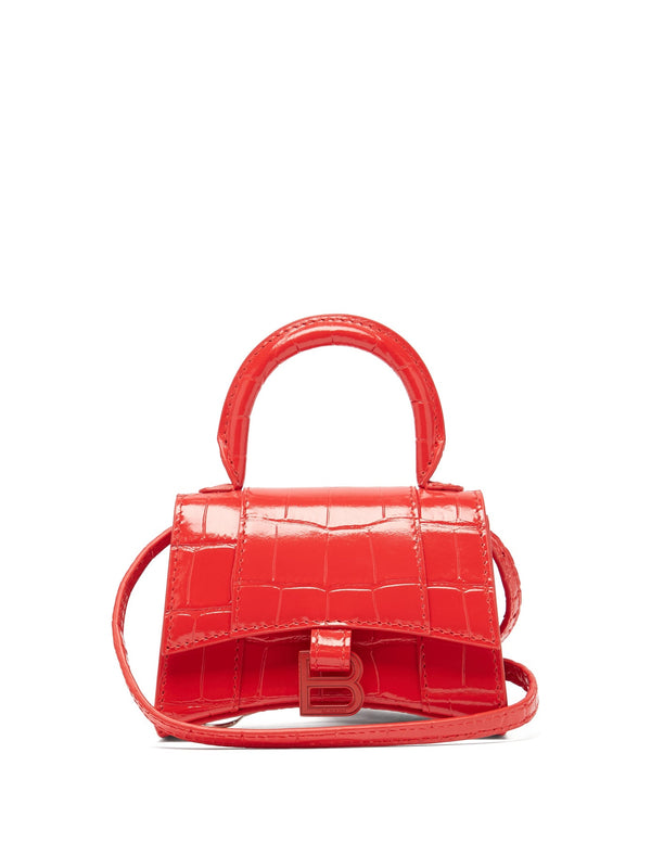 Balenciaga Hourglass Mini Croc-Effect Leather Bag