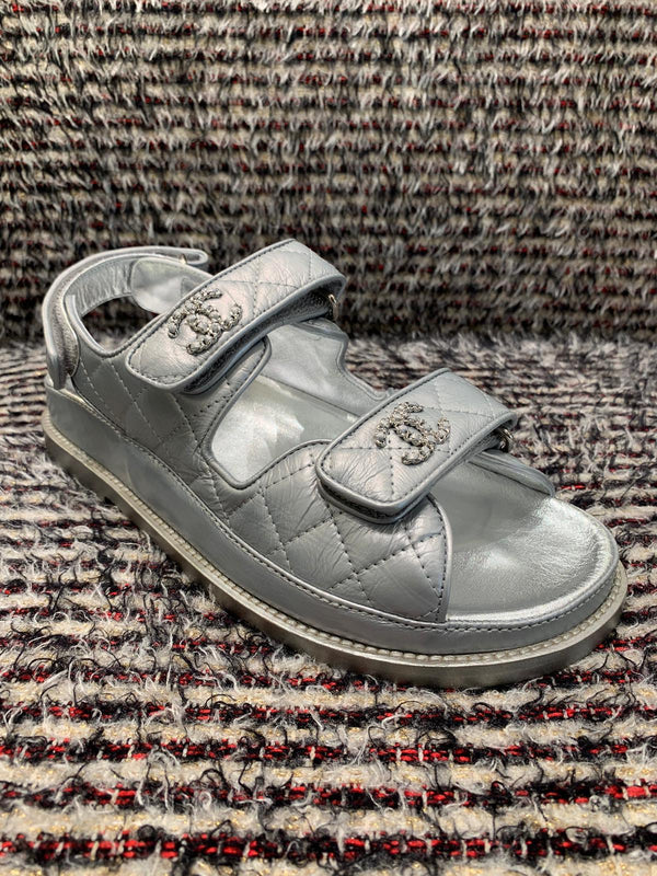 Chanel Metallic Leather CC 'Dad' Sandals (Silver)