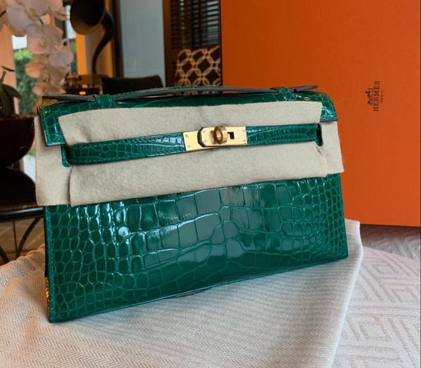 Kelly Pochette KP Emerald Alligator GHW
