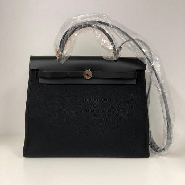 Hermès Herbag 31cm Black Toile & Vache Hunter PHW