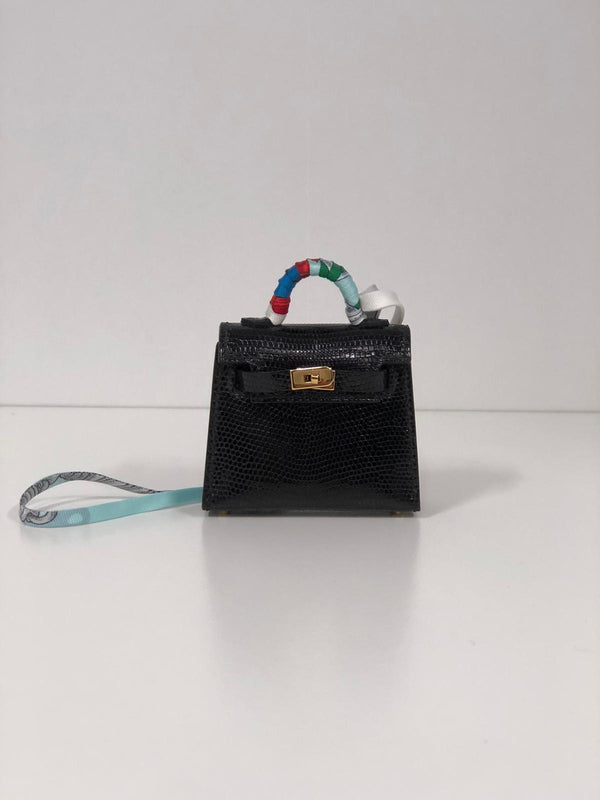 Hermès Kelly Charm Black Lizard GHW