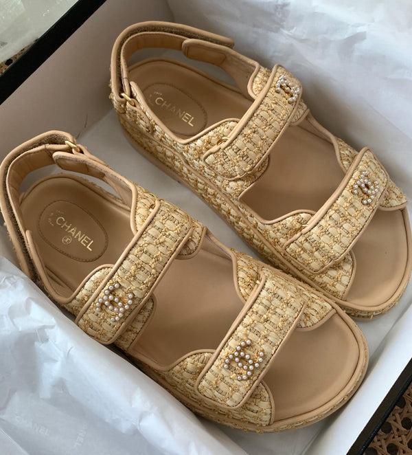 Chanel Raffia CC 'Dad' Sandals (New Season)