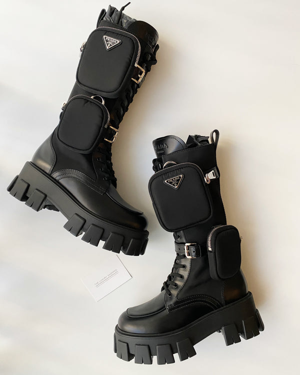 Prada Brushed Rois Leather And Nylon Boots