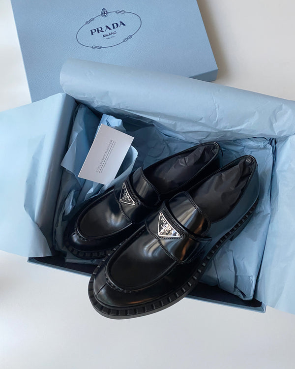Prada Brushed Leather Loafer (Black)
