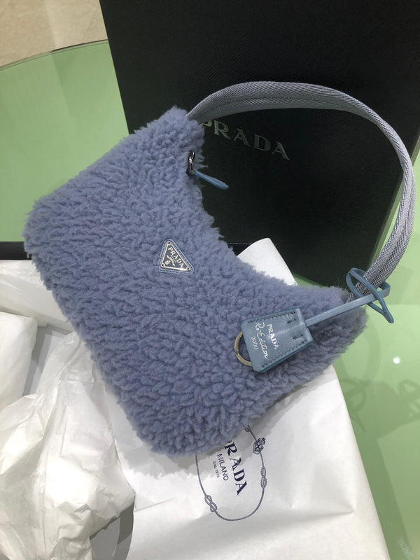 Prada Shearling Hobo Bag (Exclusive) Blue