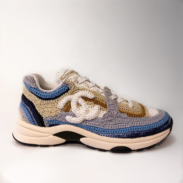 Chanel Braided Raffia Blue & Beige Sneaker