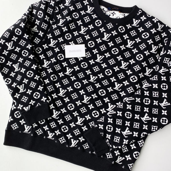 Louis Vuitton Full Monogram Jacquard Crew Neck (Black)
