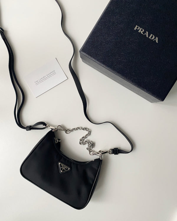 Prada Mini Nylon Hobo Bag