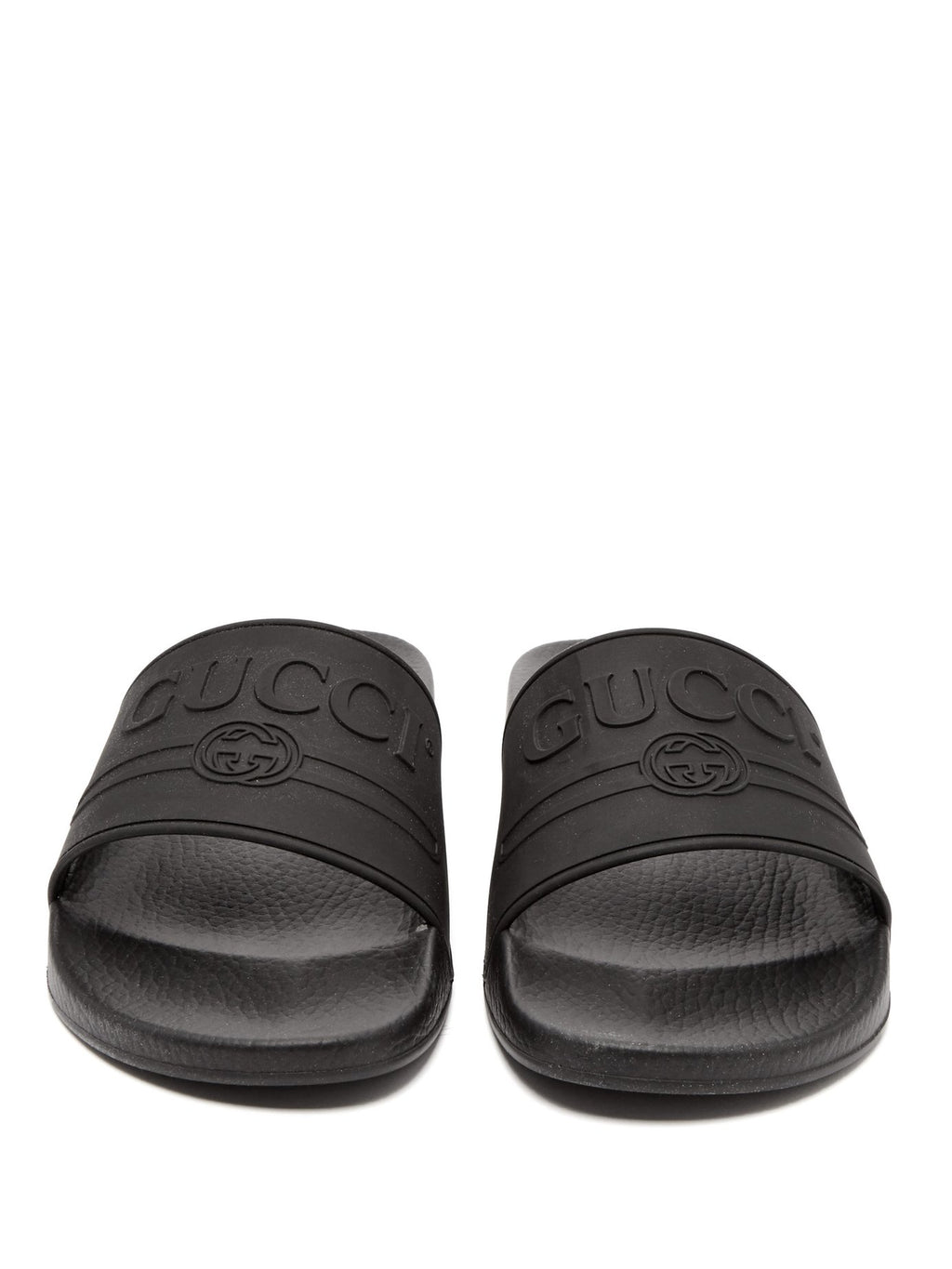 03b67aa3181 Gucci Rubber Logo Pool Slides Black SS18 – The Luxury Shopper