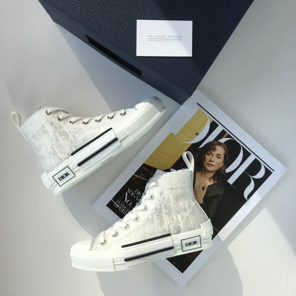 Dior B23 Oblique High Top Sneakers White