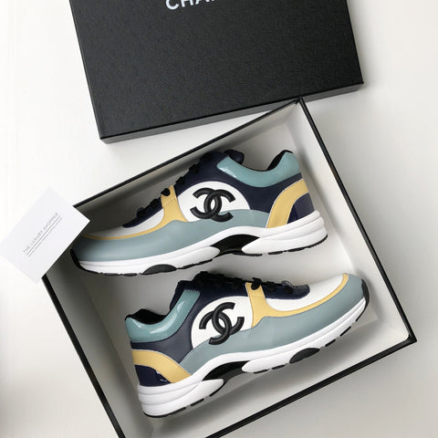 921f23b6c83a Chanel CC Logo Runner Sneaker Spring Summer 18 Blue Yellow – The ...