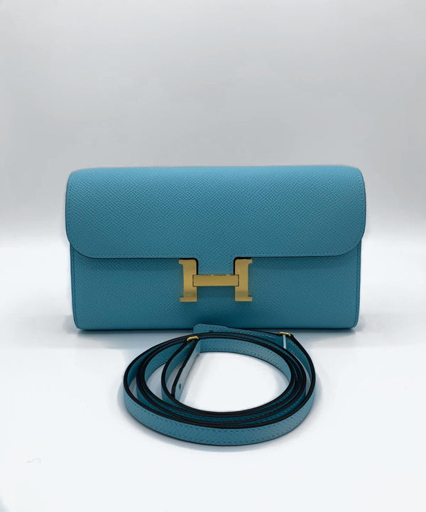 Hermès Constance To Go Blue Atoll Epsom GHW
