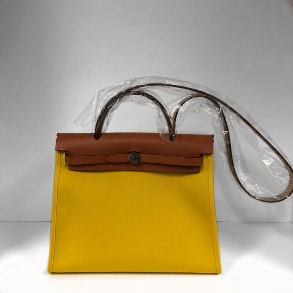 Hermès Herbag 31cm Jaune De Naples Toile & Natural Vache Hunter PHW
