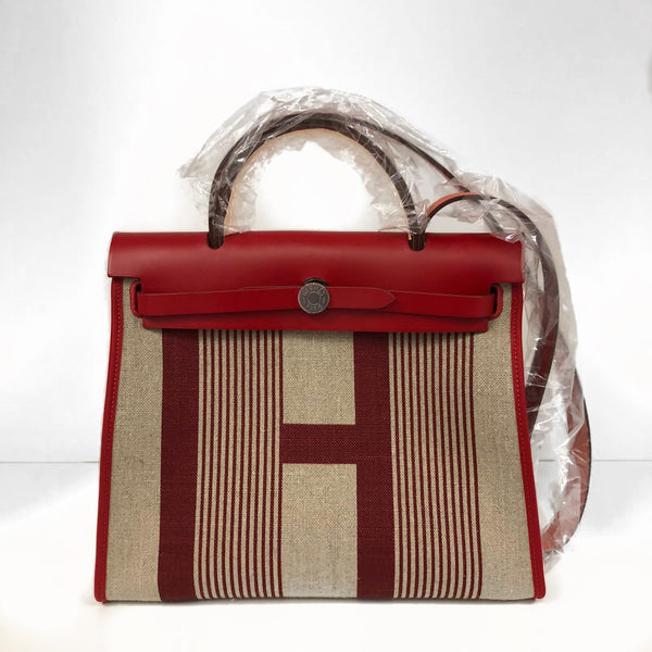 Hermès Herbag 31cm Limited Edition 'H' Toile & Vache Hunter PHW