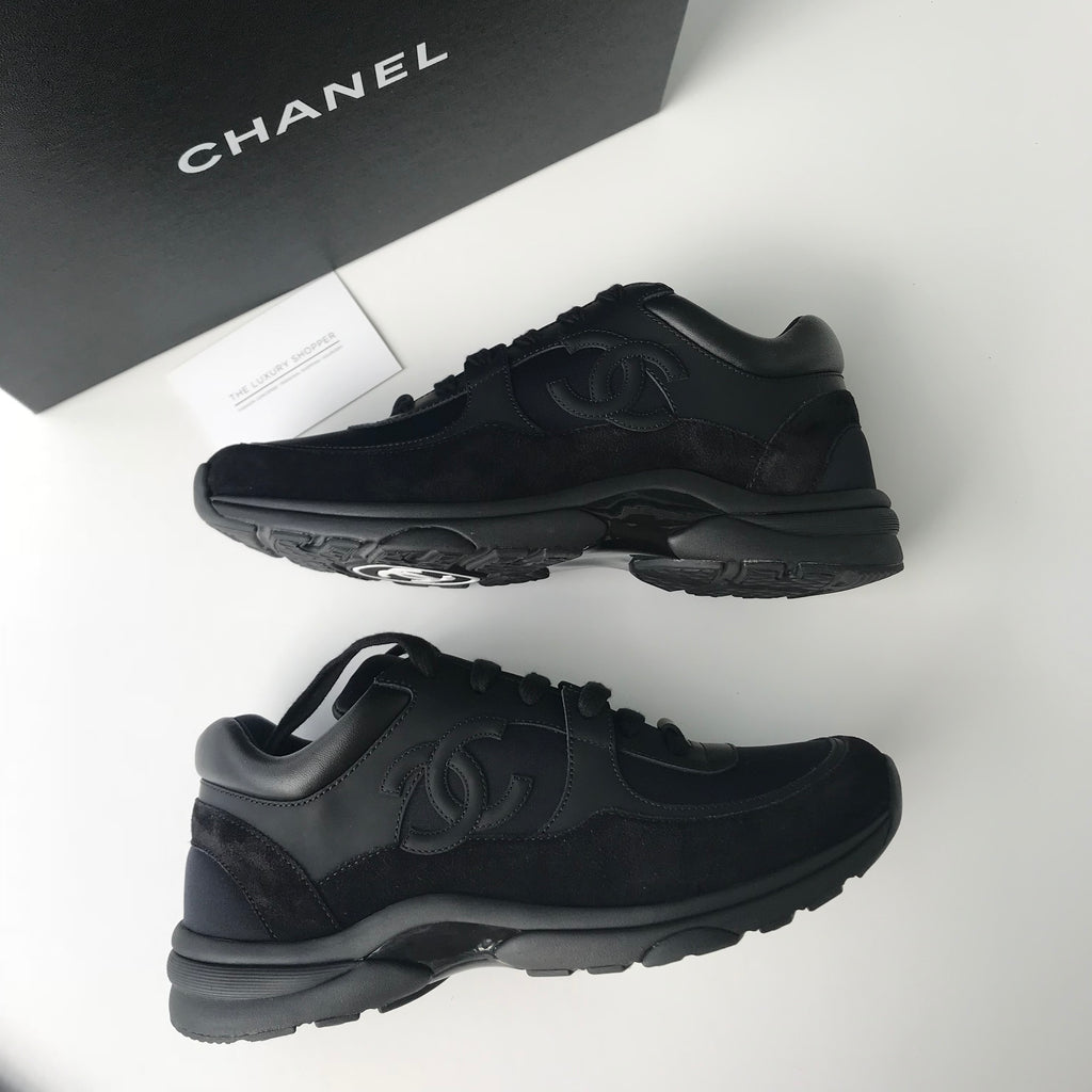 57adf4974564ea Chanel CC Logo Runner Sneaker Triple Black Leather Suede – The Luxury  Shopper