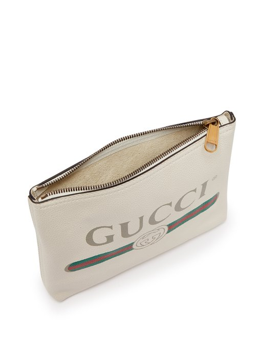 Logo Print Small Leather Pouch