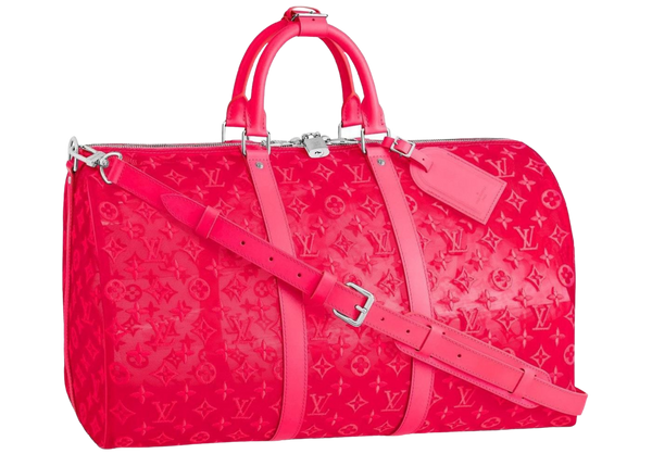 Louis Vuitton Keepall Bandouliere Monogram Mesh 50 Pink