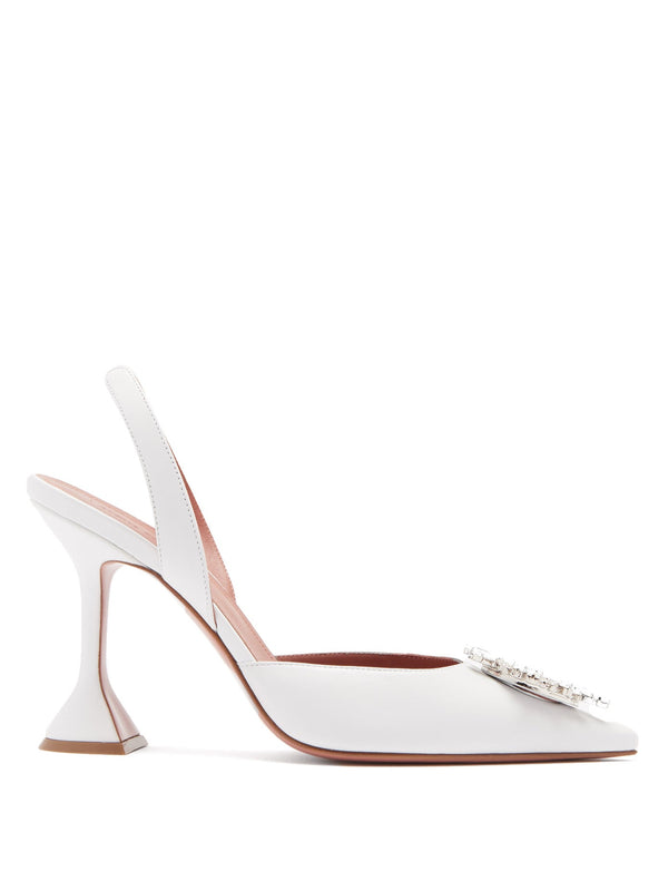 Amina Muaddi Begum Leather Slingback Pumps White