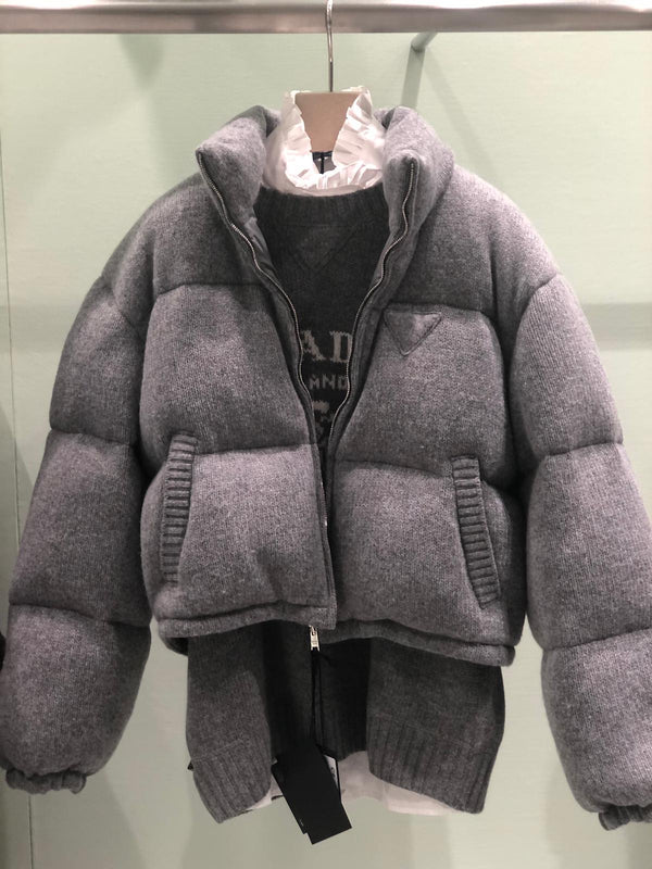 Prada Wool And Cashmere Puffer Jacket - Grey