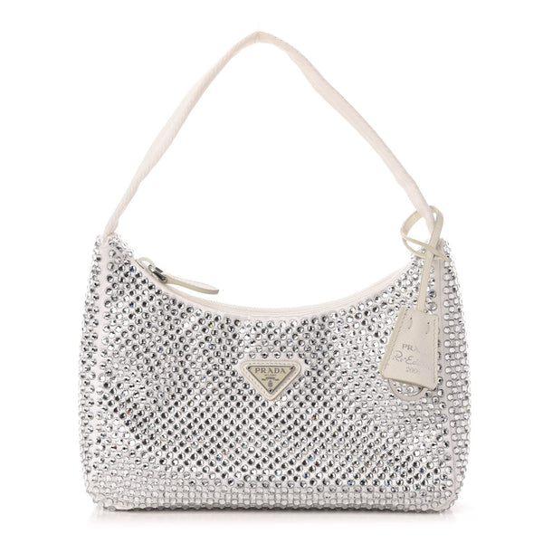 Prada Satin Bag With Crystals Limited Edition (White)