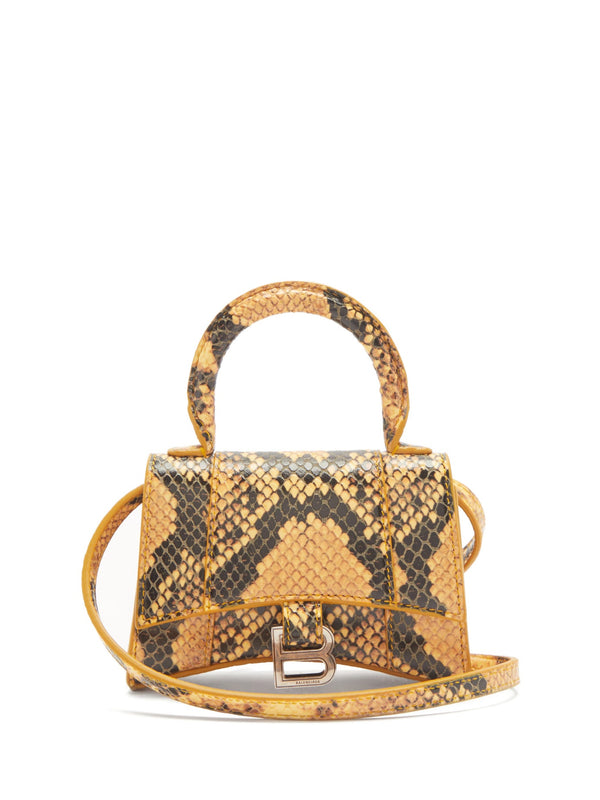 Balenciaga Hourglass Mini Python-Effect Leather Bag