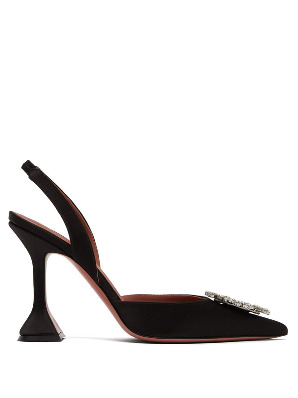 Amina Muaddi Begum Satin Slingback Pumps Black