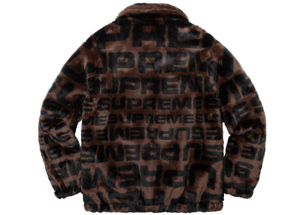 big sale c5cac 4bfc2 Supreme Faux Fur Repeater Bomber Jacket Coat Brown – The Luxury Shopper