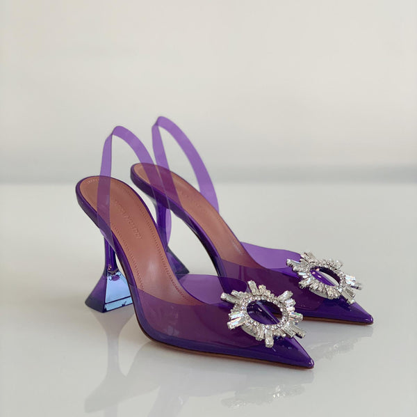 Amina Muaddi Begum Crystal Purple PVC Slingback Pumps