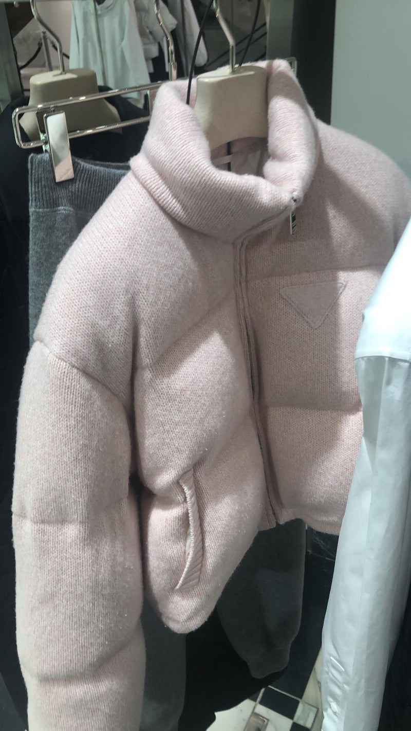 Prada Wool And Cashmere Puffer Jacket - Pink