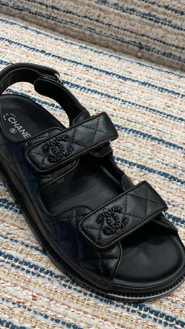 Chanel Leather CC 'Dad' Sandals (Black)