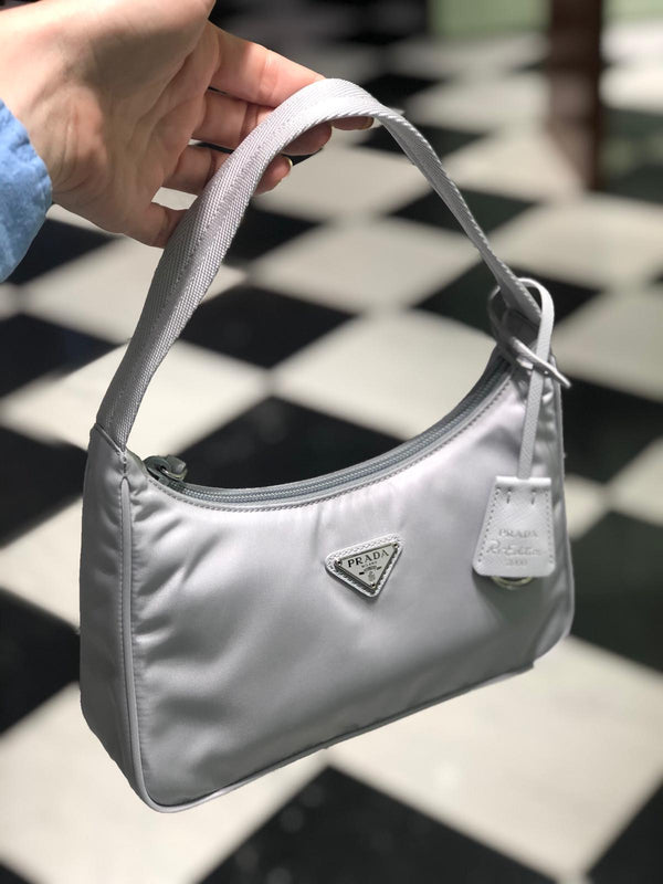 Prada Re-Edition 2000 Nylon Mini Bag (Grey/Light Blue)
