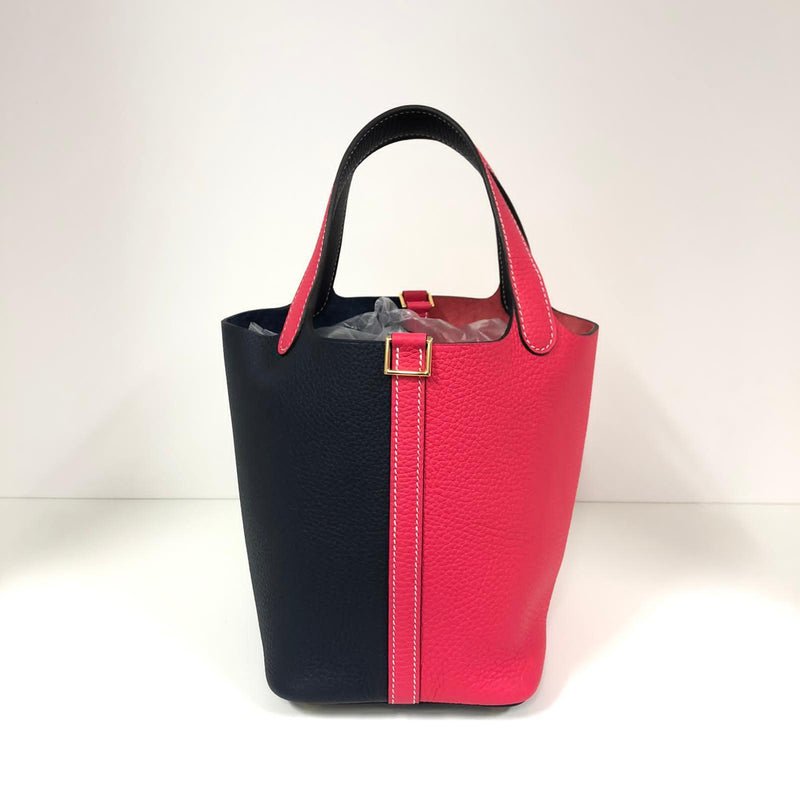 Hermès Picotin 18cm Bi-Colour Blue Nuit and Rose Extreme Clemence PHW