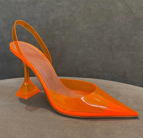 Amina Muaddi Holli PVC Orange Slingback Pumps